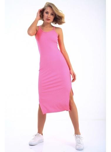 Emjey Askılı Yırtmaçlı Elbise Pembe